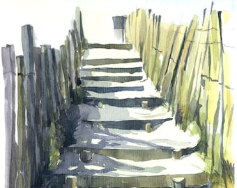 "Watercolour ""Staircase on the sand"""