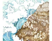 Kiss the Wave, C H Spurgeon Quote, Ocean waves, beach, Rock of Ages, sufficiency of Christ, On Christ the solid Rock I stand