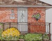 Custom House Portrait - Made to Order - Illustrated House Portrait - Orange Brick Bungalow House Portrait - Watercolor Portrait