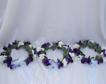 Alma's Flower Girl Wreaths Blue,Purple, White