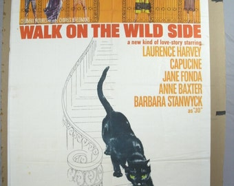 "Movie Poster  ""Walk On The Wild Side"" - Jane Fonda  Laurence Harvey -  1962 Original"