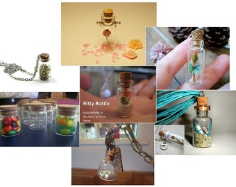 Custom Assortment of 10 Small Glass Bottles With Corks. Choose any 10 Bitty Bottles From A Wide Selection. 10 Bottles Vials Jars With Corks.