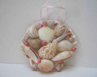 Sea Shell Wall Hanging Beige Pink Shell Art Beach Wall Decor Home Decor Beach Decor Gift Idea