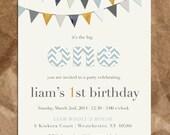 Courduroy Boy's 1st Birthday Invitation