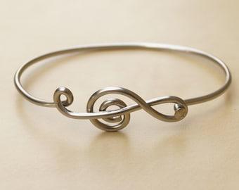 Silver Treble Clef Bicycle Spoke Bracelet