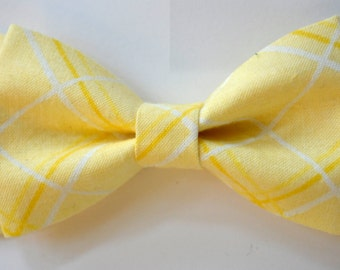Yellow plaid-bow tie, bow ties for kids, men bow tie yellow, boys bow ties