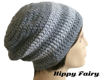 Mens slouch beanie , Gray slouch beanie, mens hat