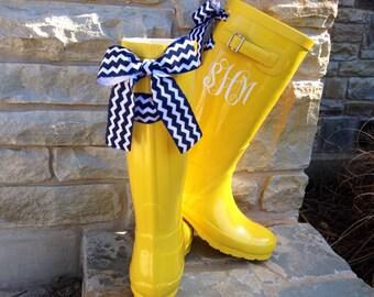Custom Monogram Yellow Gloss Rain Boot with Bow