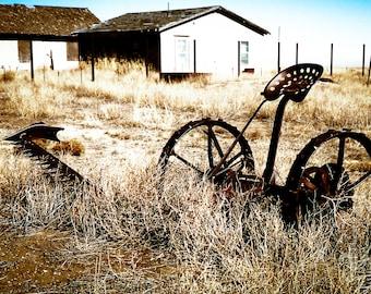 Farm Photography, antique farm implement, farm tool, farm life, industrial, rustic, primitive, neutral, Rustic Home Decor, Fine Art Print