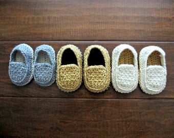 Casual Loafers - Baby Loafers - Crochet Shoes for Baby Boys - Custom Made Crochet Loafers Tan, Gray, White, Blue