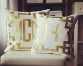 Monogram Throw Pillow Cover - Cream Metallic Gold or Silver Monogram