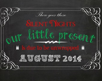 "Christmas Pregnancy Announcement ""Our Little Present"" - Customized chalkboard printable file"