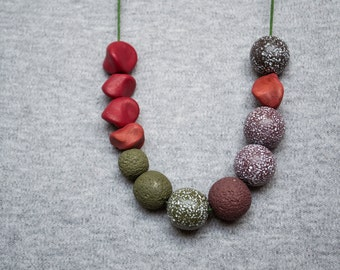 Tribal necklace Polymer clay necklace Beadwork necklace Red necklace Brown Metal free Green necklace Boho Indie Hippie Long Rustic Casual
