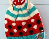 SAM: Handknit baby hat, 6 month size, stripes, loop topper