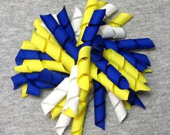 "Korker Hair Bow - Yellow, Royal Blue & White 4.5"" Korker Style Girls Hair Bow"