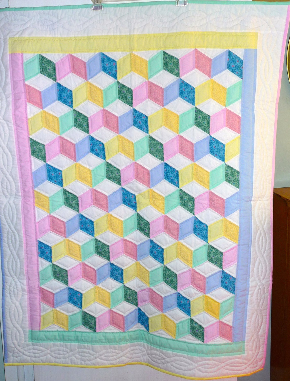 Quilting Patterns Tumbling Blocks : Amish Baby Quilt Tumbling Blocks Pattern by QuiltsByAmishSpirit