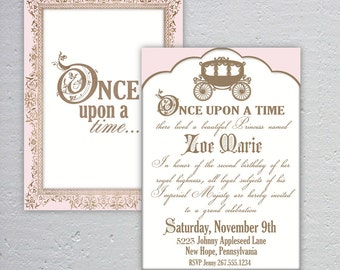 Elegant Once Upon a Time Birthday or Baby Shower Invitation