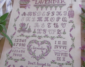 Chart Lavender Sampler  (including inscription in English,  Italian and French)- Hardcopy or PDF format