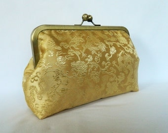 Gold Bridal Clutch, Bridesmaids Clutch, Gold Wedding Clutch, Gold Evening Clutch, Gold Clutch,Gold Floral Clutch, Handmade UK