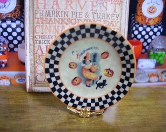 Vintage Halloween Miniature Plate for Dollhouse 1:12 scale