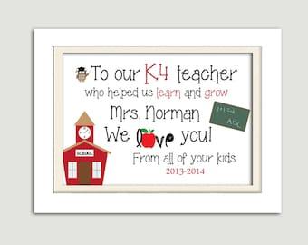 Teacher appreciation printable, teacher gift, 5x7 printable, personalized teacher printable