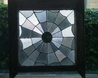Stained Glass, Spider Web, Handmade, Textured Clear Glass, Antique Window Frame, Art, Custom