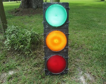 Vintage Traffic Signal, Real Red Light, Industrial Decor, Collectible, Man Cave