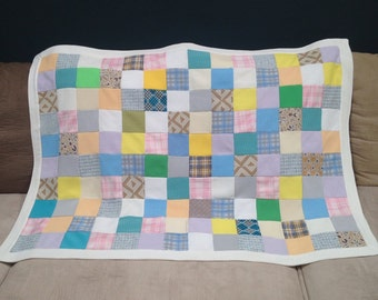 Vintage Mid Century Polyester Patchwork Baby Crib Quilt Pastel