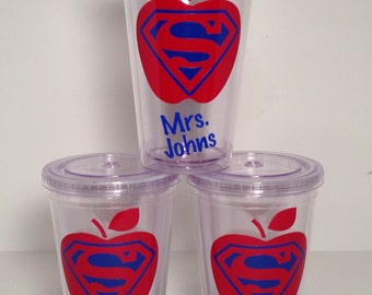 I Teach...What's Your Superpower?, Vinyl Lettering - Acrylic Tumbler, Double Insulated, Custom Name, 16 oz.