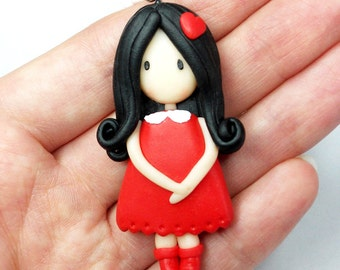 Red Doll Necklace (Gorgeous) - Handmade in Polymer Clay