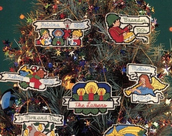 Cross Stitch CHRISTMAS ORNAMENTS on Perforated PLASTIC Pattern Book - 17 Christmas Designs plus Alphabet - Perforated Plastic - Kenyon Books