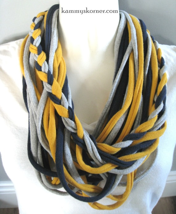 Yellow Navy Gray Braided T Shirt Scarf/Necklace