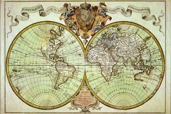 Vintageimageryx old world map restoration hardware style giant historic 1720 world map old antique fine art print gumiabroncs Gallery