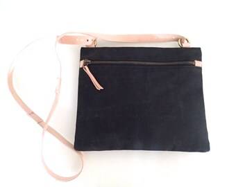 waxed Canvas Bag with Leather black Nr. 6, Cross Body bag, cross Body Bag, Canvas bag, shoulder bag