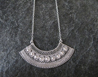 Jewelry, Silver necklace, Filigree silver  necklace, Yemenite jewelry, Israel jewelry