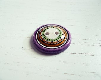 Ceramic button hand painted # 4