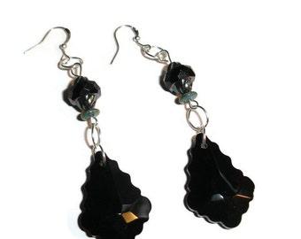 Crystal earrings chandelier earrings black crystal earrings drop earrings gift for her fancy earrings Black and iris glass dangle earrings