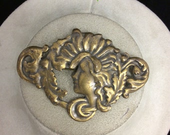 Vintage Vintage Large Goldtone Woman Pin