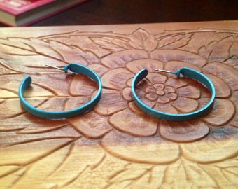 Vintage Blue Hoop Earrings