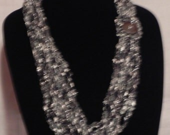 Black, White, and Silver Chain Crochet Ladder Ribbon Yarn Necklace Scarf with Button