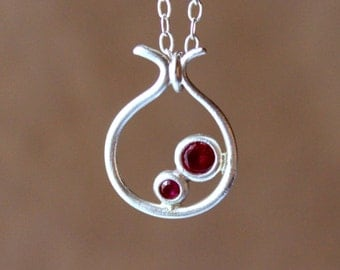 Silver Pomegrante Ruby Necklace - Fine Ruby Necklace - Fine Silver Pendant - Fruit - Handcrafted - Only One Jewelry
