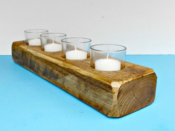 Wood candle holder for votive by robsrusticcreations