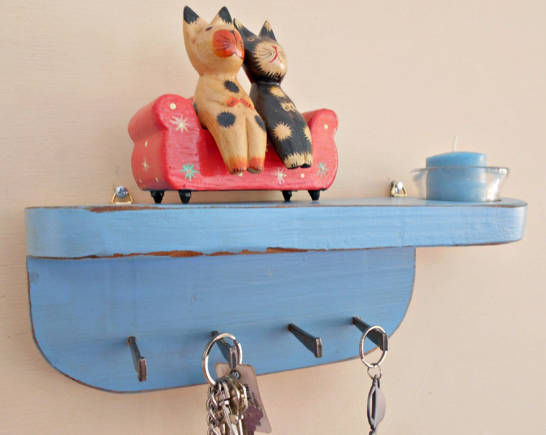 key holder keyholder shelf with hooks votive candle. Black Bedroom Furniture Sets. Home Design Ideas