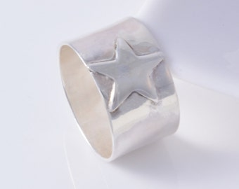 Sterling silver star ring handmade choose your size custom made to order 925 star ring