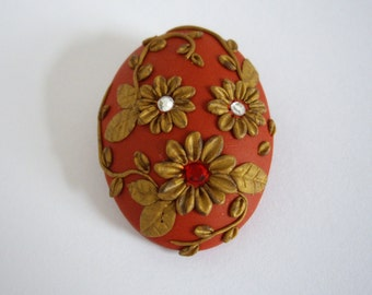 Polymer clay brooch, Wine red and glod brooch, Polymer clay floral brooch, Floral Cameo brooch,