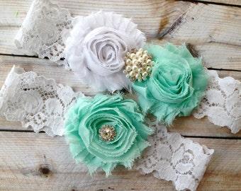 Wedding Garter, Bridal Garter - Lace Wedding Garter, Mint Garter, Wedding Garter, Mint Garter Set, White Lace Garter, Pearl Garter, Garter