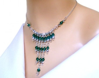 Emerald green crystal bib necklace, green fringe necklace, bollywood inspired necklace, great for prom, wedding, special occasions, casual