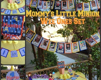 "Wee Ones ""Mommy's Little Minions"" Set - Despicable Me - Party Decor - Decorations - Theme - Photo Shoot"