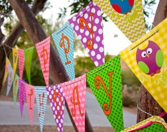 Owl Happy Birthday Banner Purple, Teal, Pink, Green, Orange for girls, teens, tweens party decor