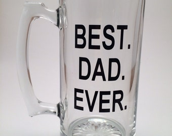 Best Dad Ever, Gift for Dad, Fathers Day Gift, Large Beer Mug, New Dad Gift,  Daddy Beer Mug